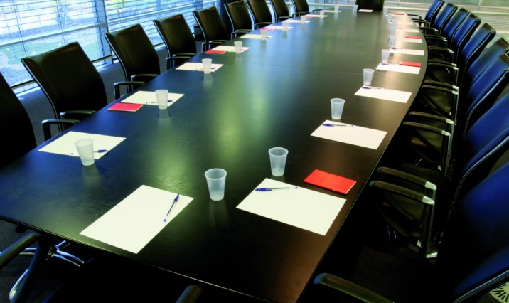 A sparkling clean conference table.